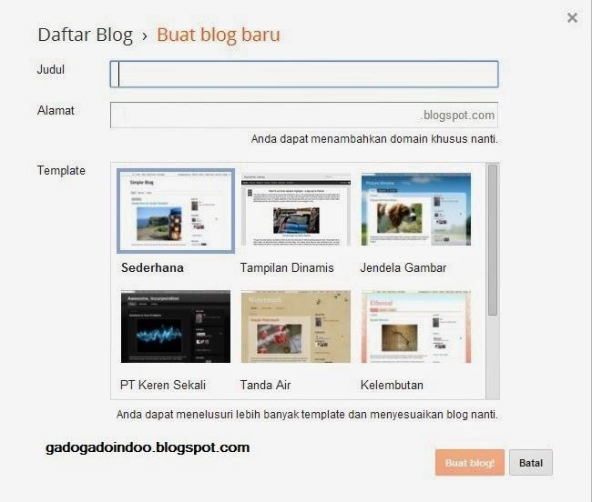Cara Membuat Blog Gratis Di Blogspot Dengan Mudah