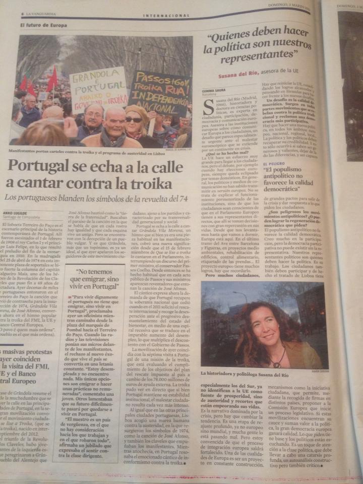 Entrevista en La Vanguardia a la Dra Susana del Río sobre política, ciudadanos, calidad democrática y comunicación europea.