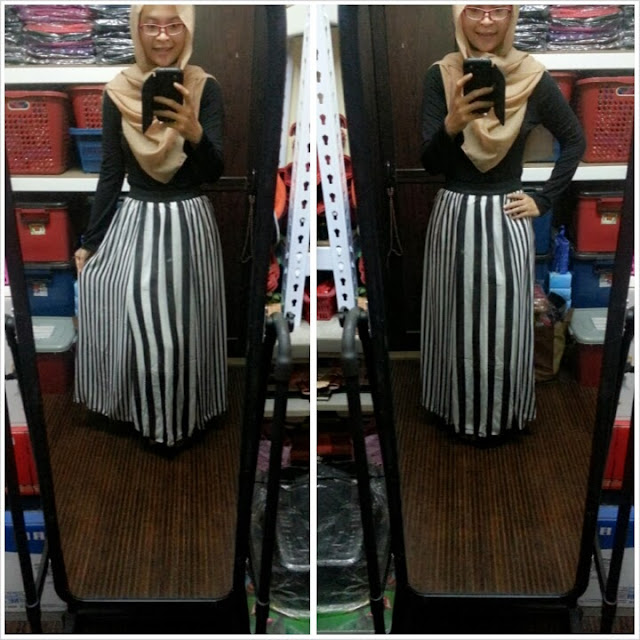 CHIFFON STRIPES SKIRT