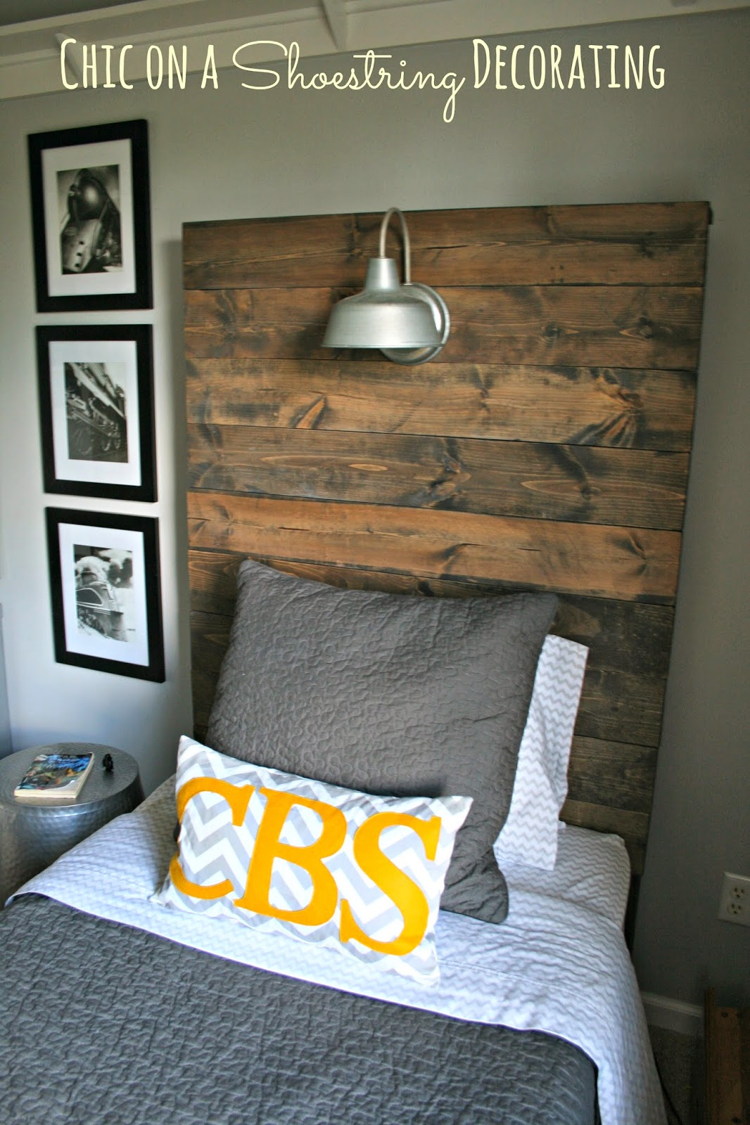How to Build a Rustic, Wooden Headboard with an attached light fixture. Headboard Tutorial by Chic on a Shoestring Decorating.