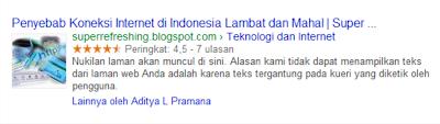 Menampilkan Gambar dan Rating Posting pada Pencarian Google
