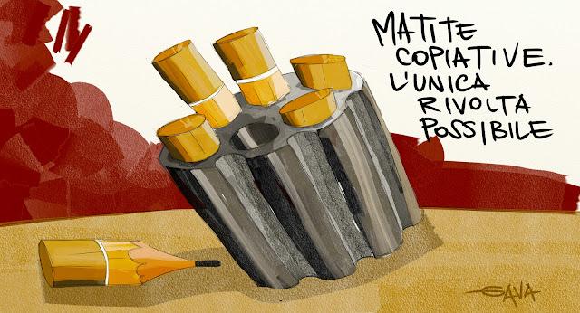 gava gavavenezia venezia satira politica caricature presine chigi preiti cartucce caricatore tamburo matite copiative ridere piangere rosso giallo nero