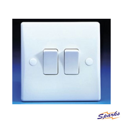 GET Schneider GU1022 Twin Switch White Plastic