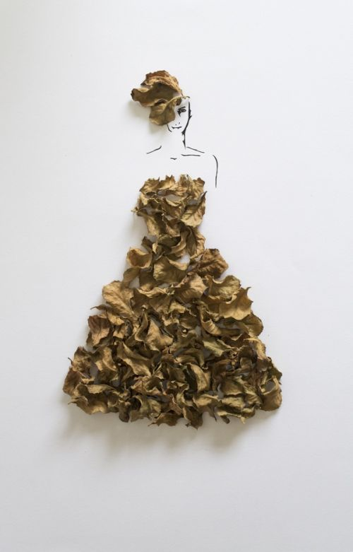 Tang Chiew Ling illustrations design fashion lyrical leaf leaves nature Fashion in Leaf - Witered leaves in a golden dress
