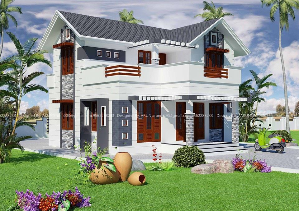 1740 sqft Slop Roof Modern House Design