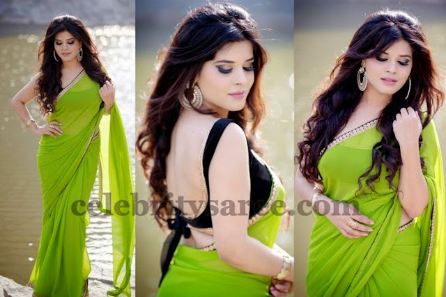 Swasti Semwal Green Saree