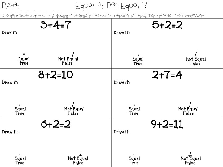 Equal Not Worksheets And Math. Equal. Best Free Printable Worksheets