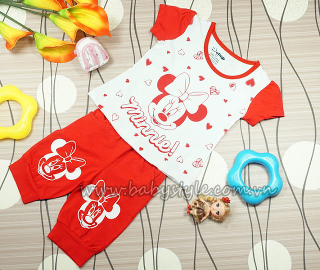 Bộ Chuột Minnie màu đỏ dành cho bé gái
