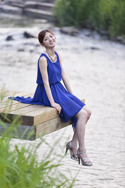 5 Chae Eun in Blue - very cute asian girl - girlcute4u.blogspot.com