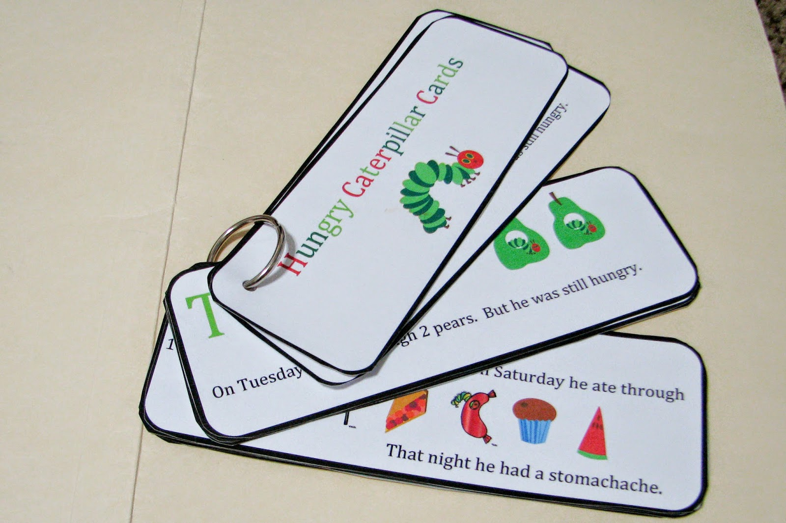 """... this story like """"The Hungry Caterpillar Cards and stick puppets below"""