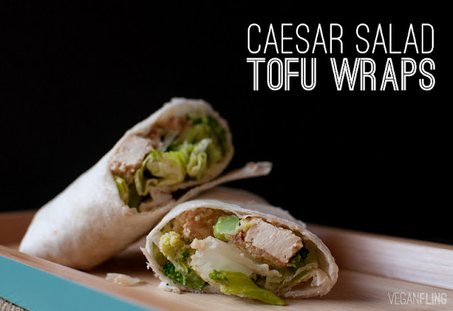 ... delicious caesar salad wraps with tofu ok so it may look like there