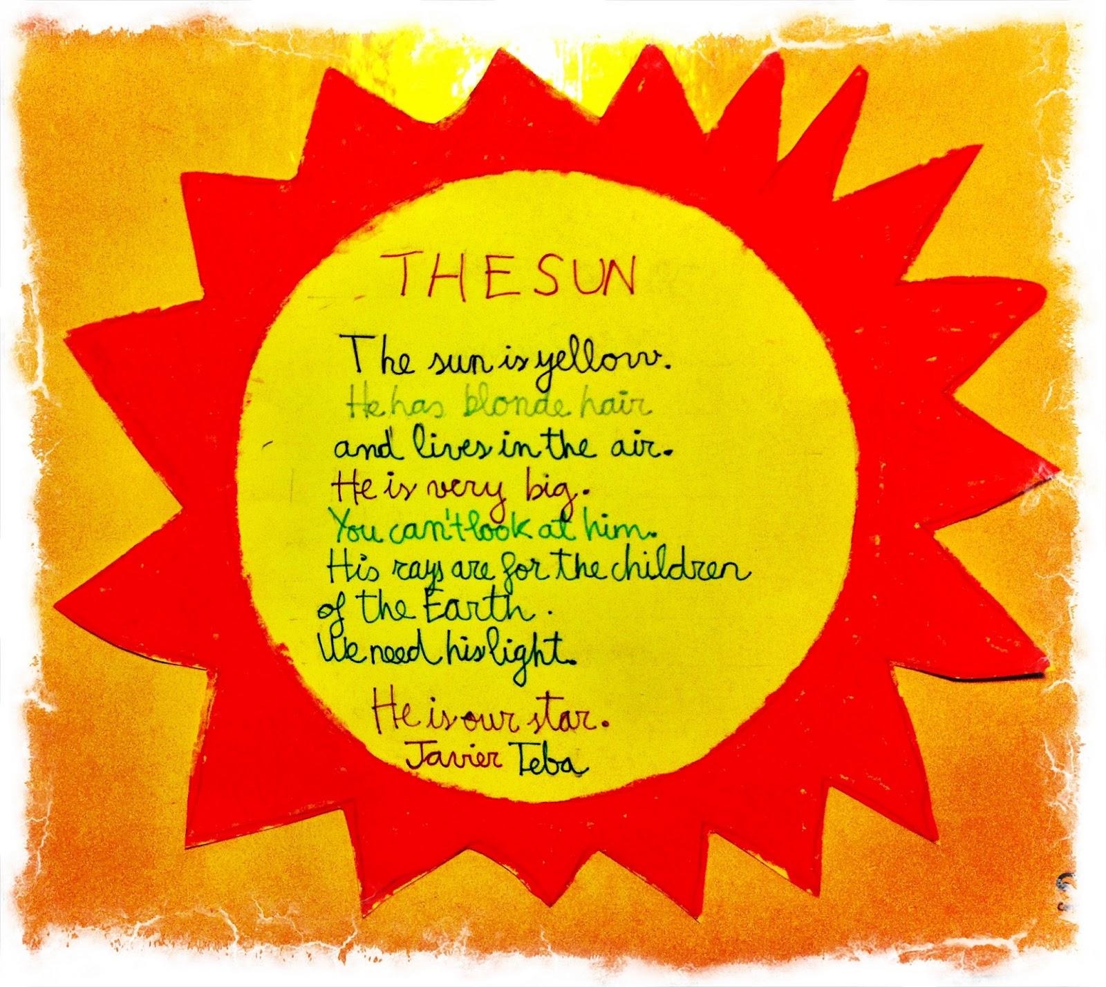 En la imagen de arriba podéis ver el poema que mi hijo Javi ha hecho