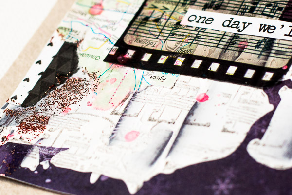 One day card by Maria Potapovich using BoBunny Altitude and Rose Café collection and Rose Café Adhesive Film Strip