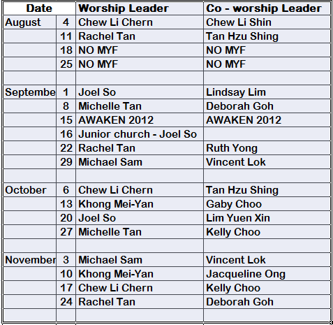 Methodist youth fellowship tmc pj praise team schedule for Worship schedule template