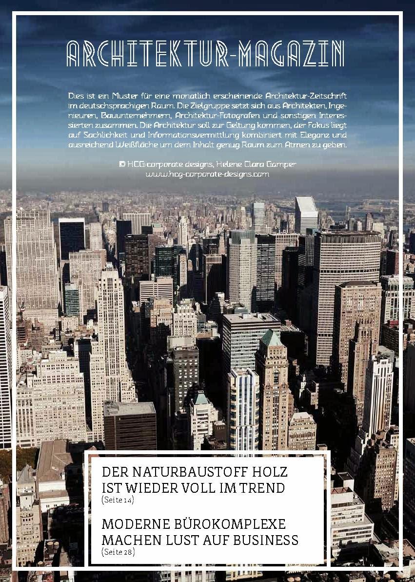 Editorial Design: Magazine on architecture   HCG CORPORATE DESIGNS