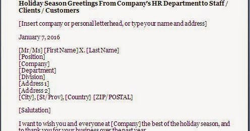 Holiday Greetings Letter Format