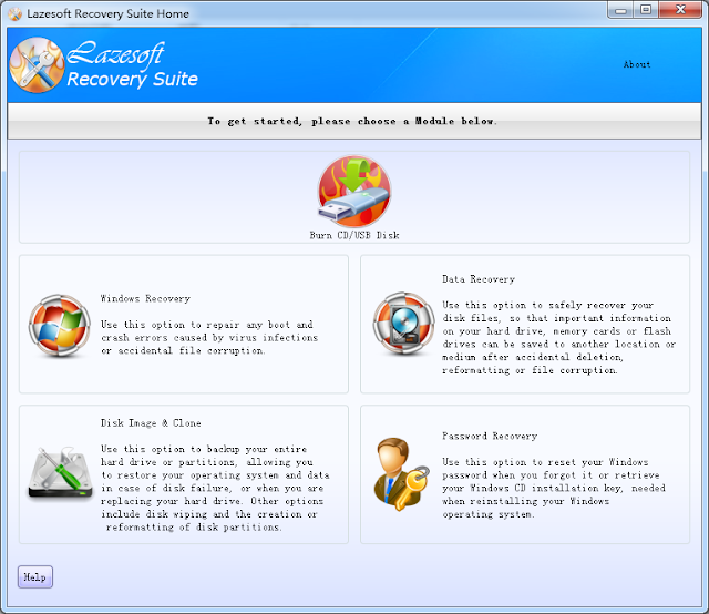 برنامج مجاني لإستعادة الملفات ونظام التشغيل وكلمات السر Lazesoft Recovery Suite Home 4.1