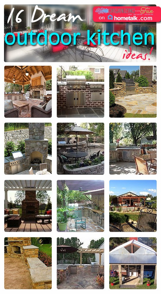 16 Dream Outdoor Kitchen Ideas via OrganizingMadeFun.com