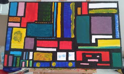 Cuadro pintado sobre lienzo con pinturas acrílicas Colores y texturas