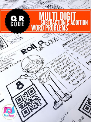 math worksheet : classroom freebies football qr code addition and subtraction word  : Football Math Worksheets