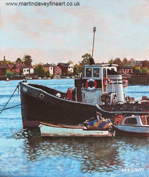 Old boats moored at St Denys Southampton-acrylic painting