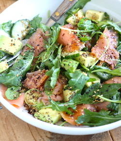 smoked salmon salad with homemade japanese ponzu dressing recipe by seasonwithspice.com