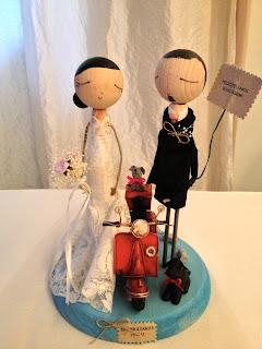 novios personalizados, vespa, novios originales, detalles boda