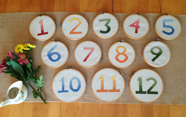 Cross-stitch these beautiful ombré table numbers with just two colors! They make for a beautiful keepsake (perhaps for a future baby nursery?) after the wedding.