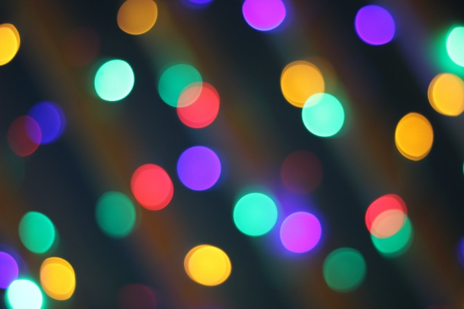 Coloured Christmas lights bokeh, close up