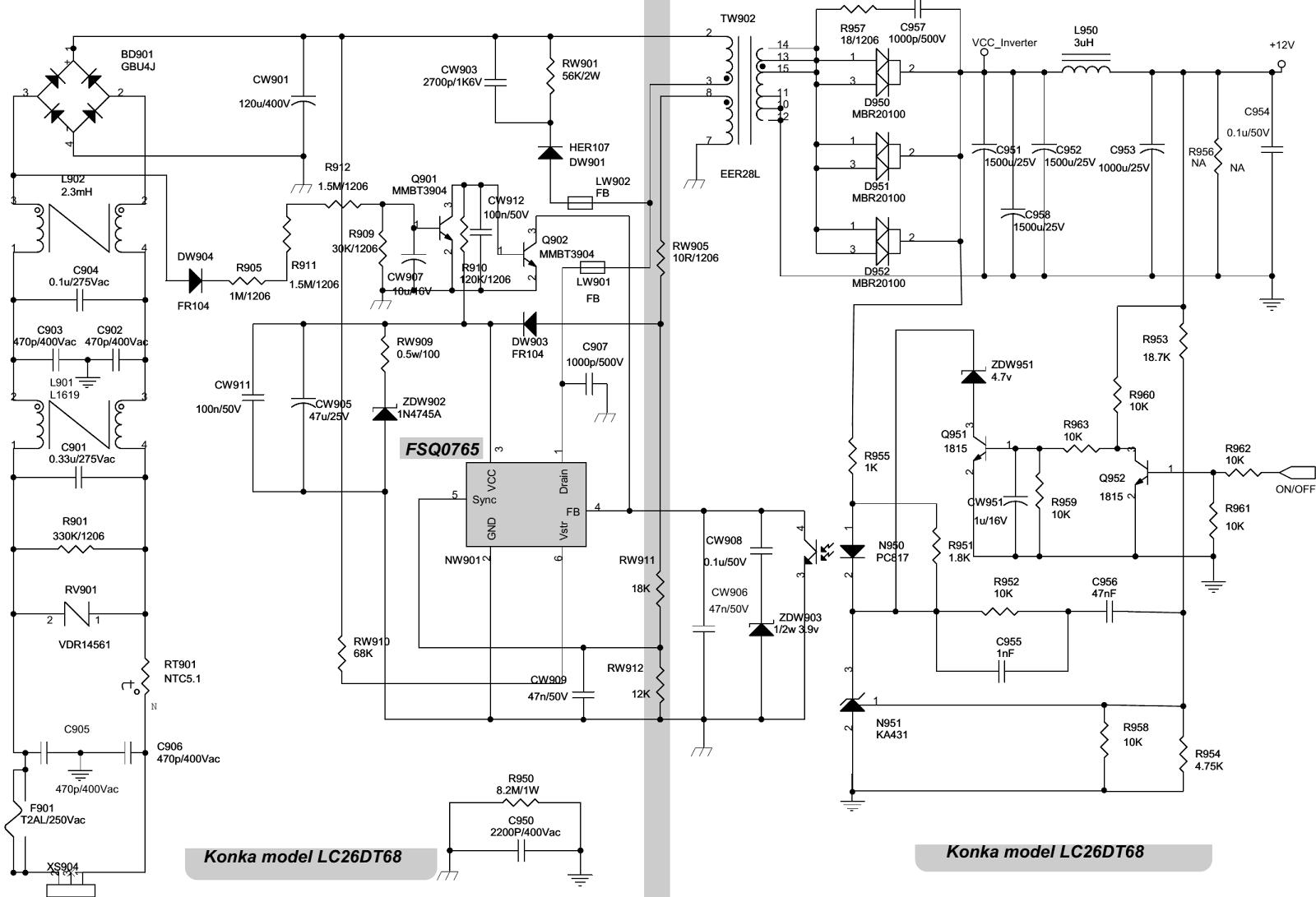 konka lc26dt68  u2013 smps schematic