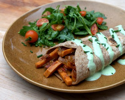 Veggie Burritos with Cilantro Sauce, a vegetarian 'concept' recipe for what's on hand, gorgeous sauce. Very adaptable!