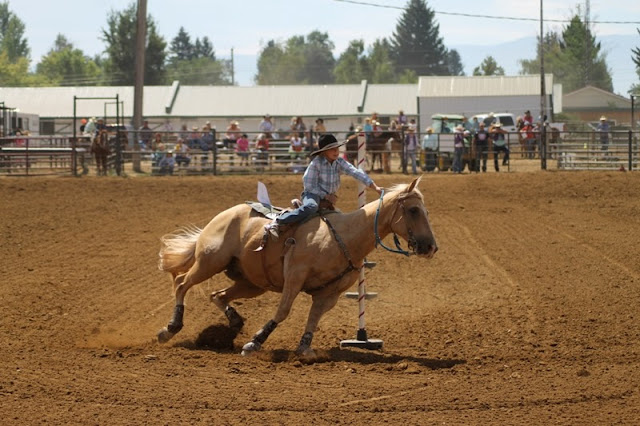 contestant rounding the last pole at the Sheridan Elk's Youth Rodeo