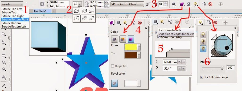 Propertybar pada Objek Extrude 3D di CorelDraw X7