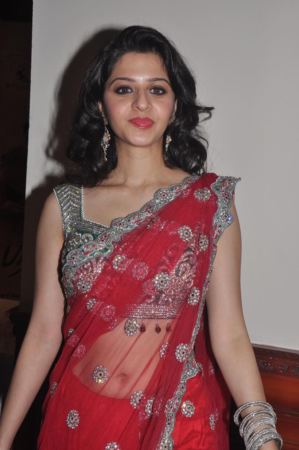 Beautiful Malayalam Girl Vedika Navel Show Stills In Red