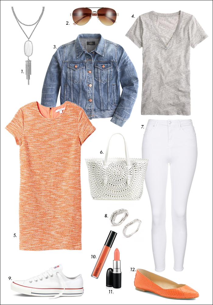 styling white denim, jean jacket, piperlime sale, spring look, gray tee