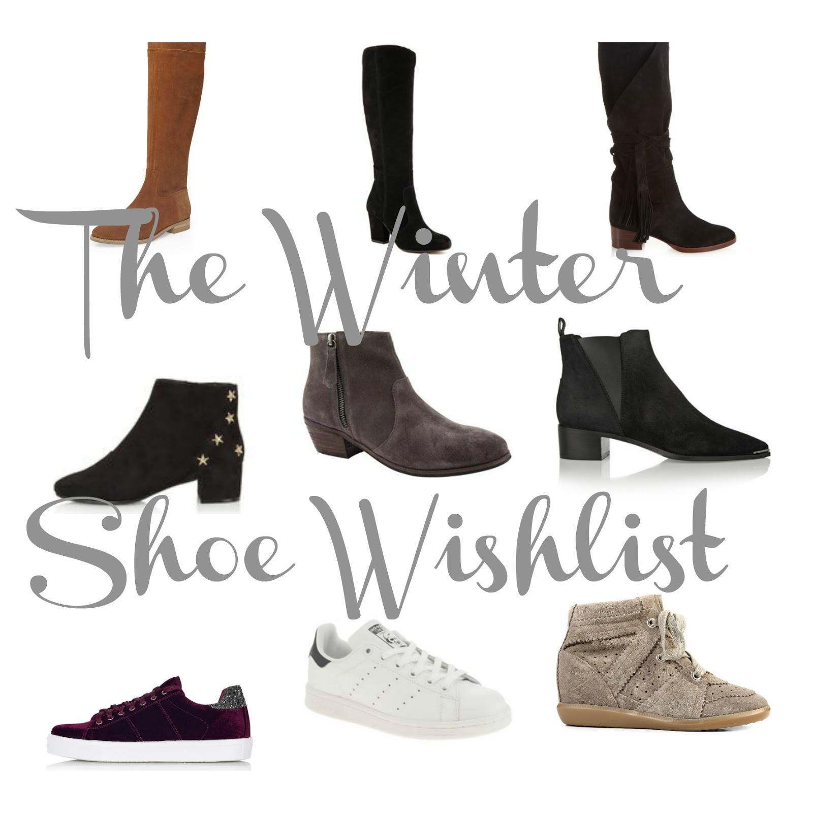 winter shoe wishlist, isabel marant bobby sneakers, acne jensen boots, topshop betty star boots, topshop carol trainers