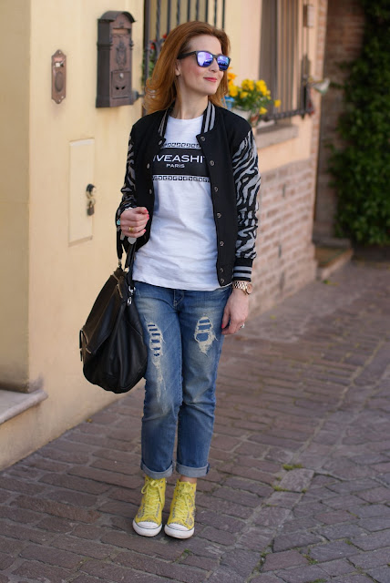 Varsity jacket, Zara boyfriend jeans, Givenchy Pandora bag, Fashion and Cookies