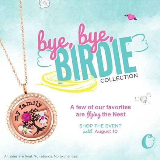 Shop the Origami Owl Bye, Bye Birdie Sales Event until August 10, 2014 at StoriedCharms.com