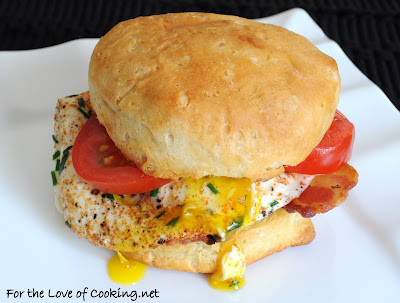Spicy Herbed Egg, Tomato, and Bacon Biscuit Sandwich