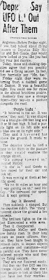 Deputies Say UFO Let Out After Them - Chronicle 9-5-1965