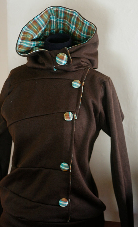 Beautiful Button-down Hoodie in Chocolate and Plaid