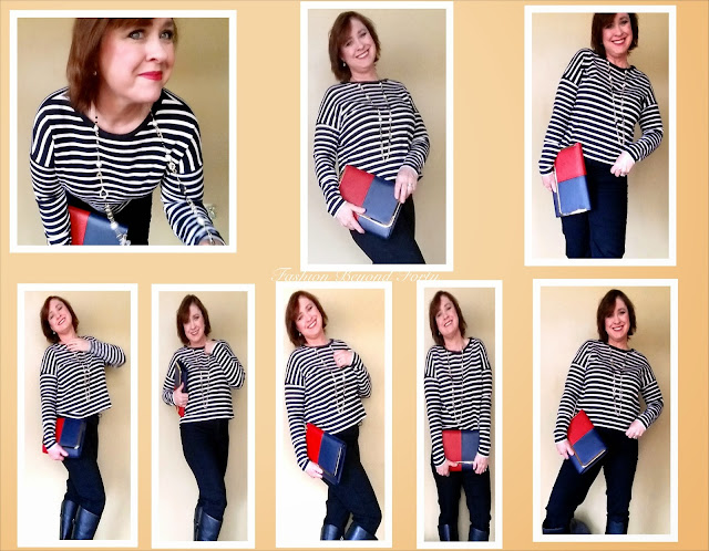 Fashion Beyond Forty Letote Review FRENCH CONNECTION  Crop Stripe Sweater