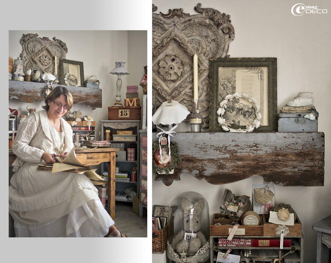 Kristin, auteure du blog Ciel d'Orage, dans son atelier