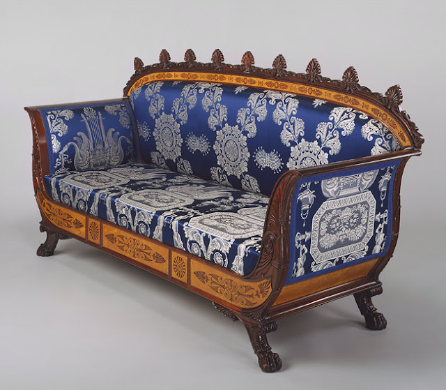 Filippo Pelagio Palagi, Sofa (part of a set), ca. 1835, Italian (Piedmont), Mahogany veneered with maplewood and mahogany, covered with modern silk brocade, Metropolitan Museum of Art, New York