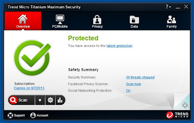 Trend Micro Titanium Maximum Security 2013 – Interface