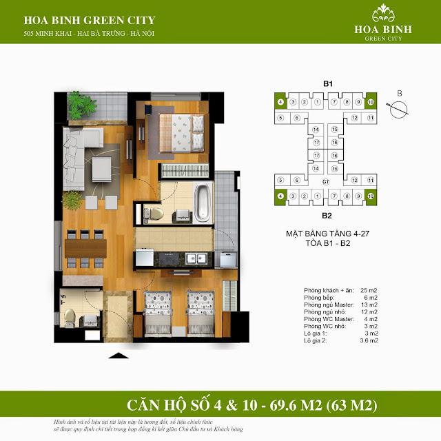 Mặt bằng căn 4 - 10 chung cư Hòa Bình Green City