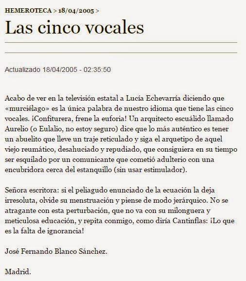 Lucía Etxebarria palabra murciélago cinco vocales