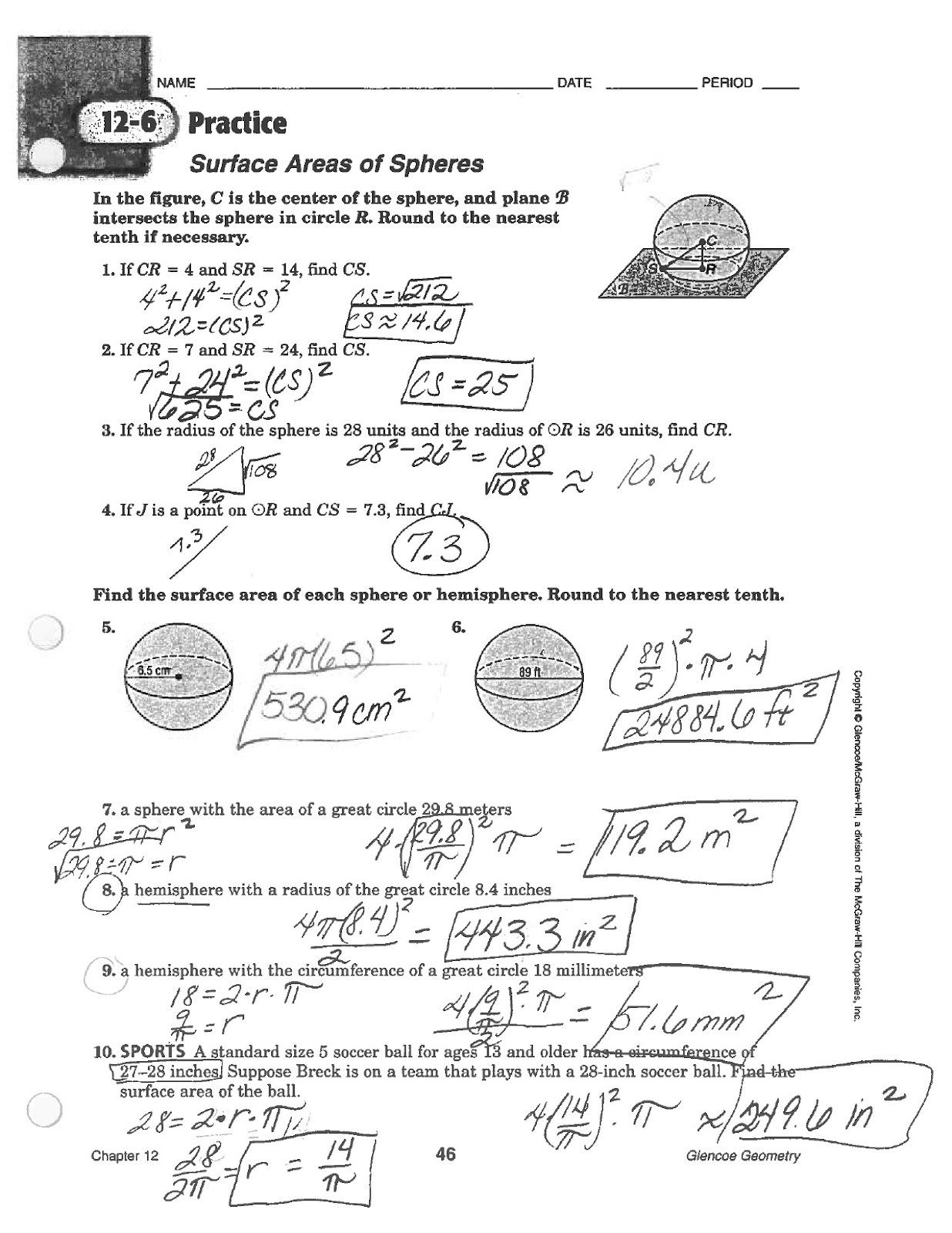 Worksheets Volume Of Spheres Worksheet math classes spring 2012 geometry spheres sa and volume volume