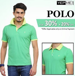 Yepme Offer: Make Online Payment & Get 20% Extra Off on already 30% Discounted Men's Polo