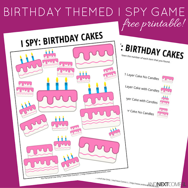 Free printable birthday themed I Spy game for kids from And Next Comes L